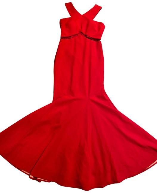 Item - Red And Flare Gown Illusion Mesh Long Formal Dress Size 12 (L)