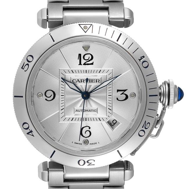 Item - Silvered Pasha 38mm Dial Steel Mens W31059h3 Watch