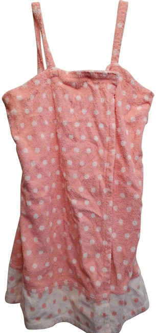 Item - Pink White L New Polka Dot Wrap Cover Up Short Casual Dress Size 14 (L)