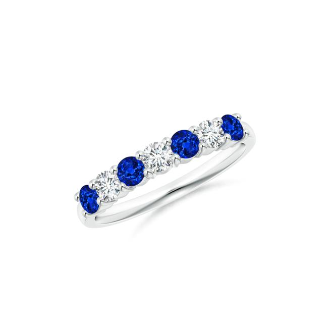 Item - 14k White Gold 0.88ct Half Eternity Seven Stone Sapphire and Band Ring