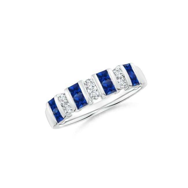 Item - 14k White Gold 1.00ct Vertically Channel Set Sapphire and Half Eternity Band Ring