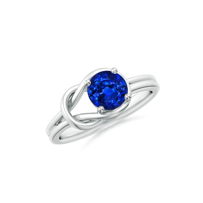 Item - 14k White Gold 1.00ct Solitaire Blue Sapphire Infinity Knot Ring