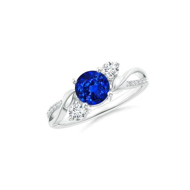 Item - 14k White Gold 1.30ct Ladies Sapphire and Twisted Vine Ring