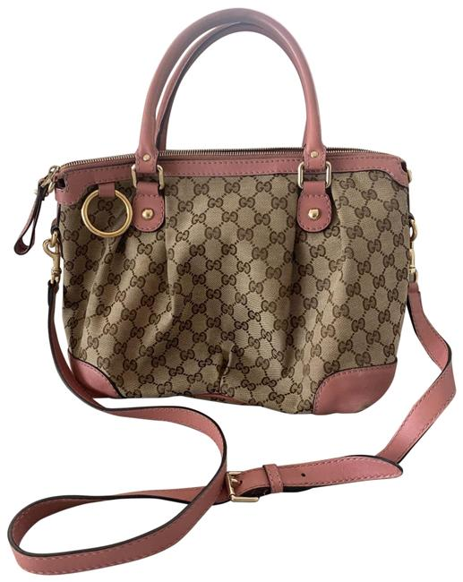 Item - Bag Crossbody Boston Pink Tan Fabric and Leather Strap and Trim Satchel