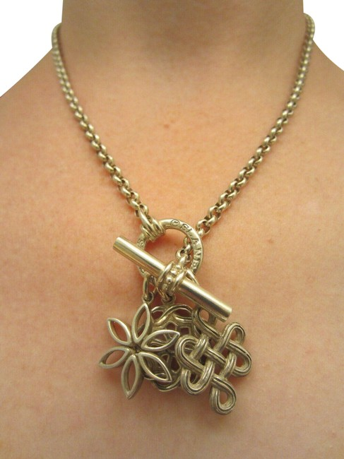 Item - Sterling Silver Fenestra Infinity Knot Flower Toggle Pendant Necklace
