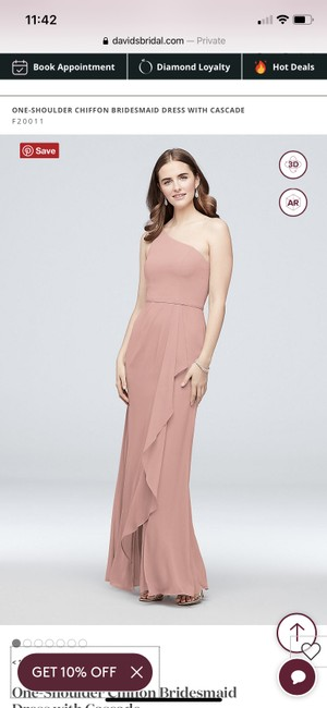 Item - Light Mauve Pink Polyester One Shoulder Chiffon with Cascade Formal Bridesmaid/Mob Dress Size 6 (S)