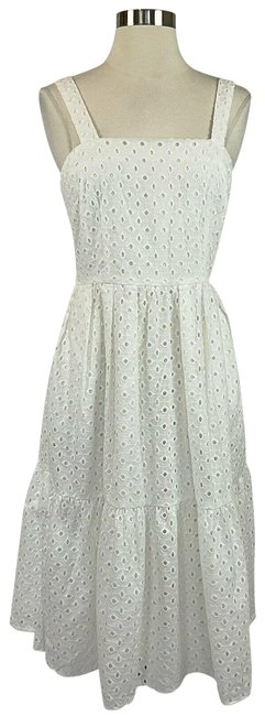 Item - White Women's 12 Eyelet Lace A-line Mid-length Short Casual Dress Size 6 (S)