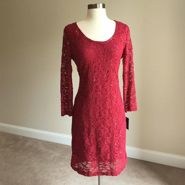Item - Red Women's Sequined Lace Sheath Cocktail Dress Size 10 (M)