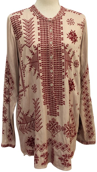 Item - Gray/Burgundy Johnny Was Embroidered Pana Dress Blouse S Tunic Size 6 (S)
