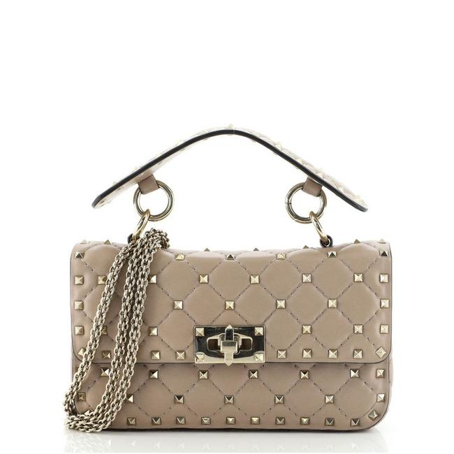 Item - Flap Rockstud Spike Quilted Small Neutral Leather Cross Body Bag