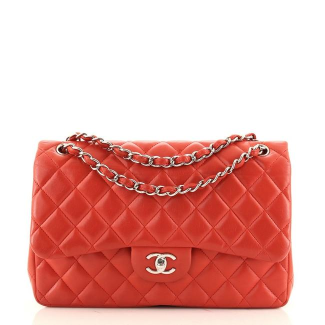 Item - Classic Flap Classic Double Quilted Lambskin Jumbo Red Leather Cross Body Bag