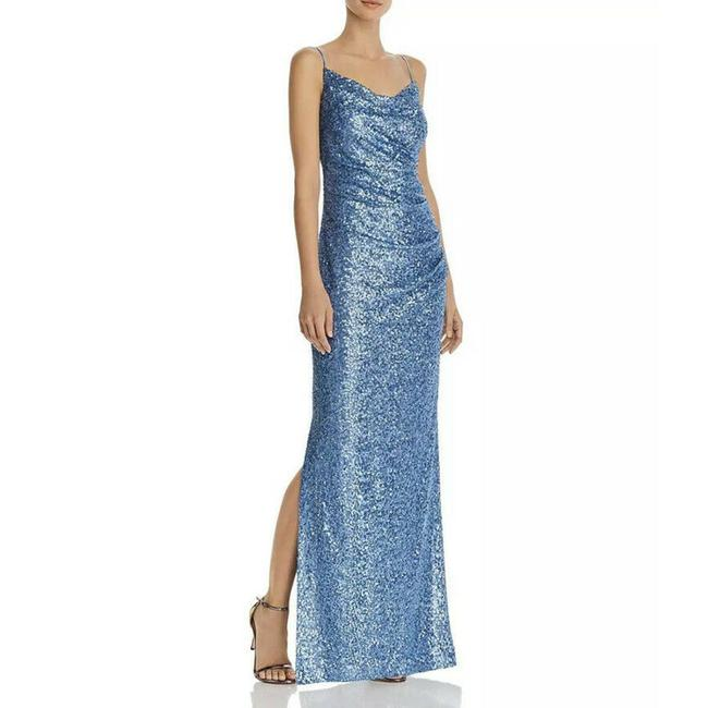 Item - Blue Women's Sequined Sheath Gown Long Formal Dress Size 4 (S)