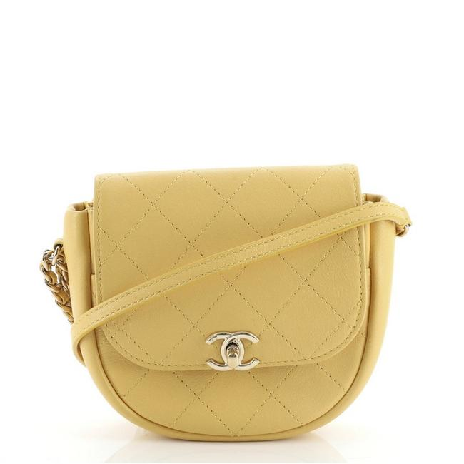 Item - Messenger Casual Trip Quilted Lambskin Mini Yellow Leather Cross Body Bag