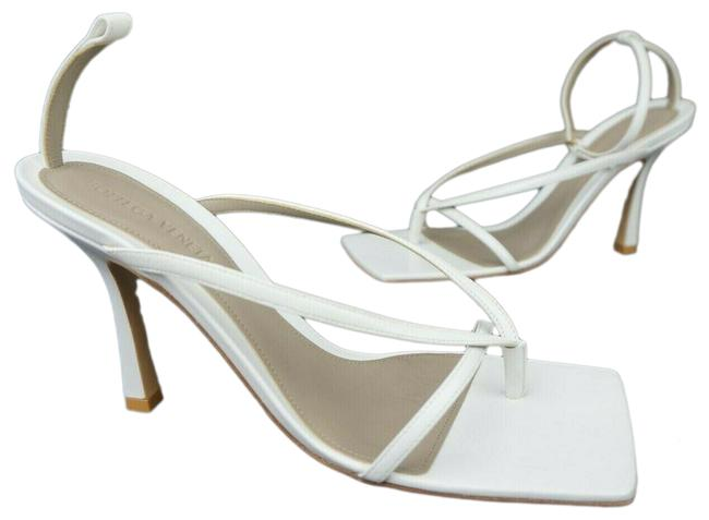 Item - White Bv Stretch Square Toe Leather Women's Sandals Size EU 39 (Approx. US 9) Regular (M, B)