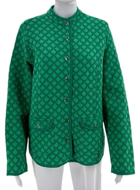 Item - Green Quilted Scalloped Jacket Size 8 (M)