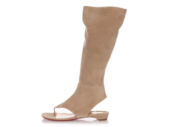 Item - Beige Suede From Sand Flat Thong Tall Boots/Booties Size EU 38.5 (Approx. US 8.5) Regular (M, B)