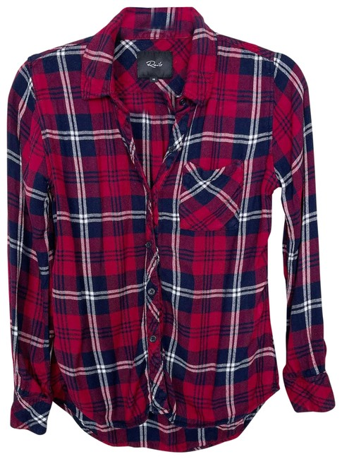 Item - Red XS Hunter Shirt Cherry Navy White Xsmall Button-down Top Size 2 (XS)