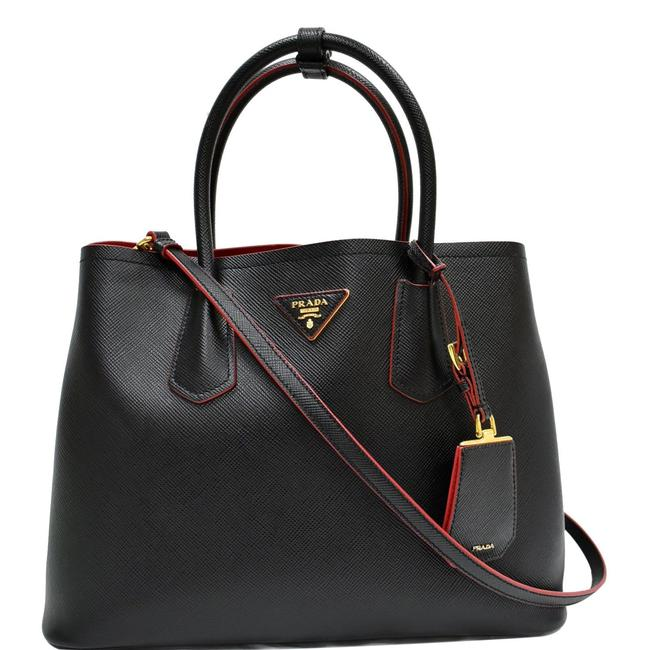 Item - Double Handle Cuir Tote Black / Fiery Red Saffiano Leather Shoulder Bag