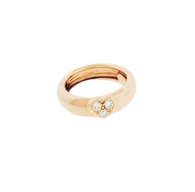Item - Rose Gold Co 3 Stone Large Heart Round Band In 18k Ring