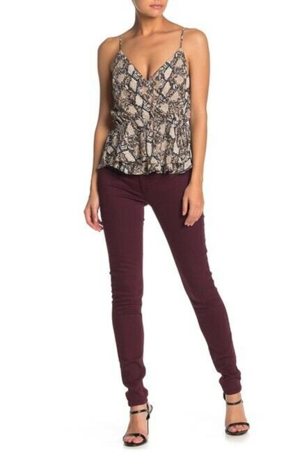 Item - Red Medium Wash Krista Ankle In Bordeaux Skinny Jeans Size 26 (2, XS)
