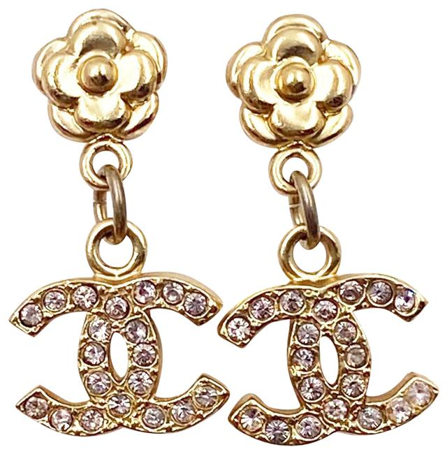 Item - Gold Pale Pink Classic Camellia Cc Crystal Dangle Earrings