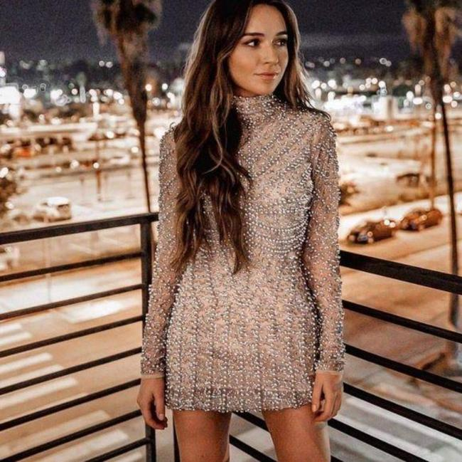 Item - Nude Silver High Neck Long Sleeve Pearl Embellished Mini Short Night Out Dress Size 4 (S)