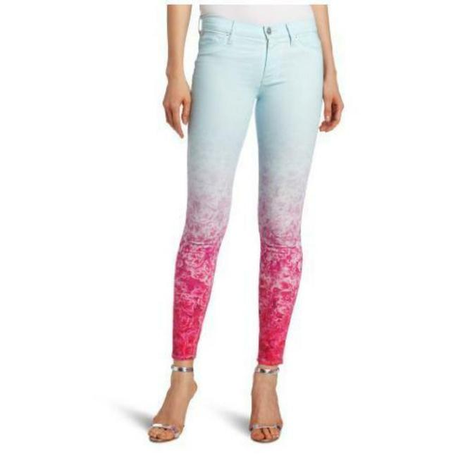 Item - Blue Pink Light Wash Ombre Nico Mid Rise Floral Skinny Jeans Size 25 (2, XS)