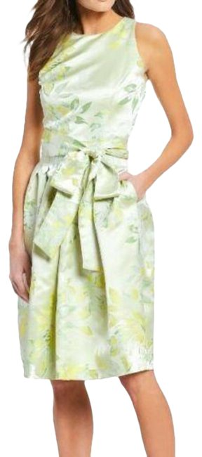 Item - Yellow Bow Laura Mint Floral Midi Mid-length Cocktail Dress Size 2 (XS)
