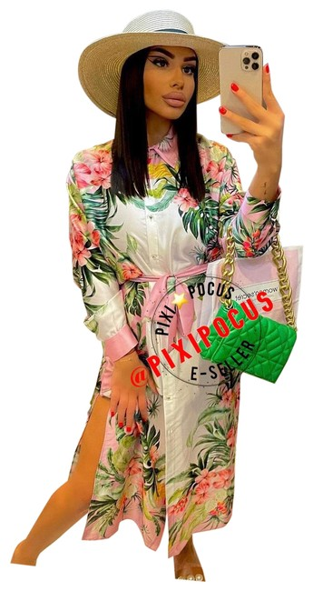 Item - Pink Tropical Belted Shirt Satin Casual Maxi Dress Size 6 (S)