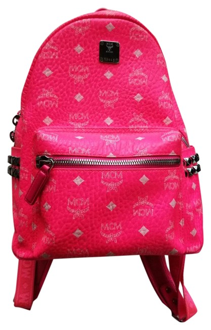 Item - Bright / Silver Studs Pink Leather Backpack