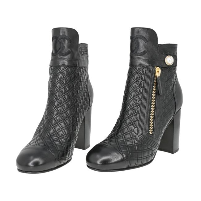 Item - Black Cc Logo Quilted Leather Pearl Chunky Heel Zip Ankle Boots/Booties Size EU 39 (Approx. US 9) Regular (M, B)