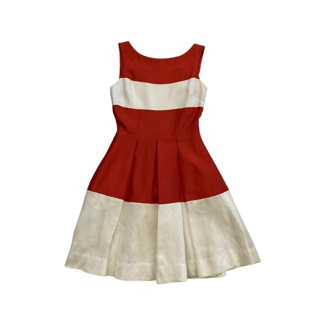Item - Beige Red Striped Mid-length Cocktail Dress Size 0 (XS)