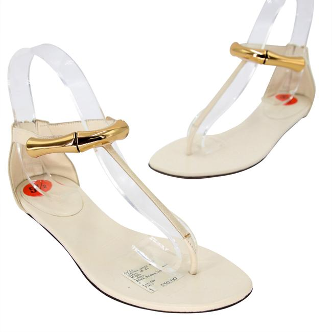 Item - White Bamboo Gold Detail & Elegant Leather with Thong Sandals Size US 5.5 Regular (M, B)