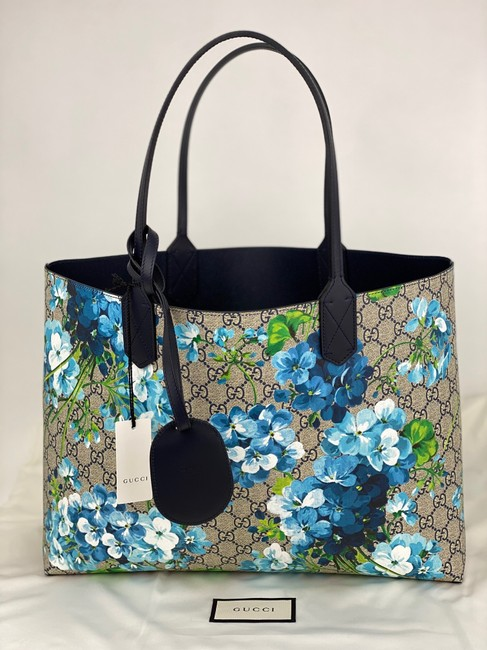 Item - Blooms Reversible Purse Blossoms B379 Blue Green Brown Gg Supreme Canvas Tote