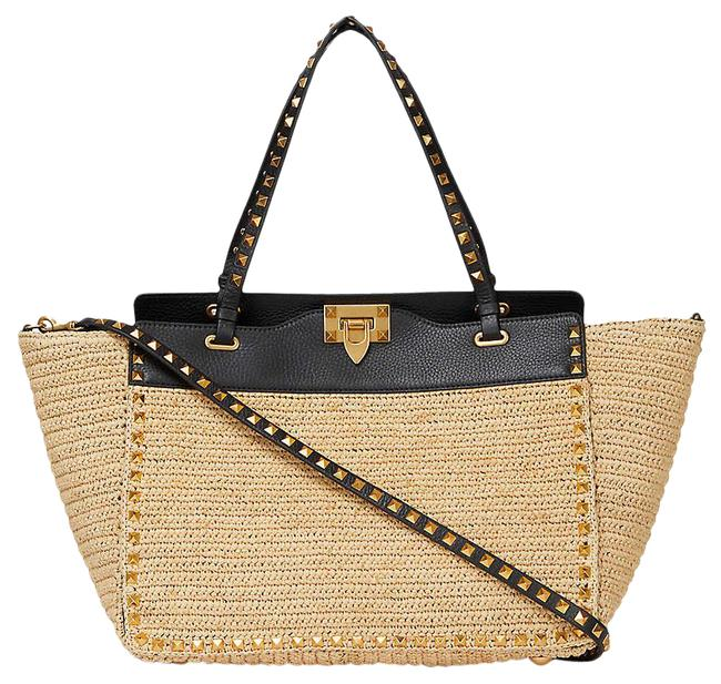 Item - Rockstud Natural/Black Straw and Leather Tote