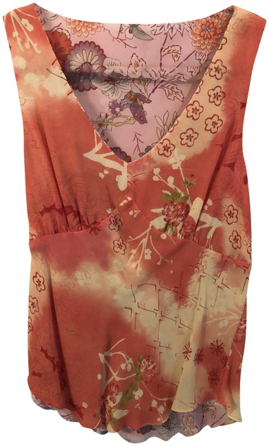 Item - Multicolor Reversible Sleeveless Floral and Geometric Print Blouse Size 4 (S)