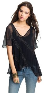 Free People Beaded Sheer Top Midnight