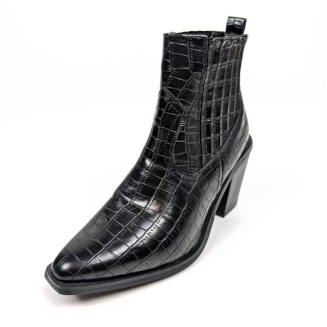 Item - Black Croc-embossed Faux Leather Eve Boots/Booties Size US 7 Regular (M, B)