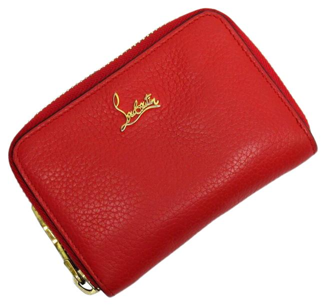 Item - Red Color Coin Case Gold Leather Wallet
