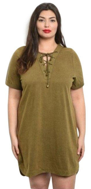 Item - Green Olive Mineral Wash Lace Up Tunic Short Casual Dress Size 20 (Plus 1x)