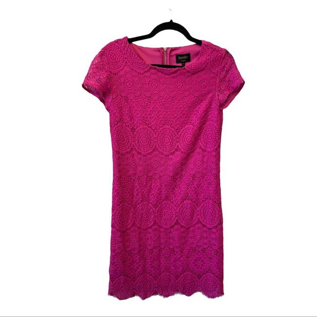 Item - Pink Lace Overlay Short Casual Dress Size 4 (S)