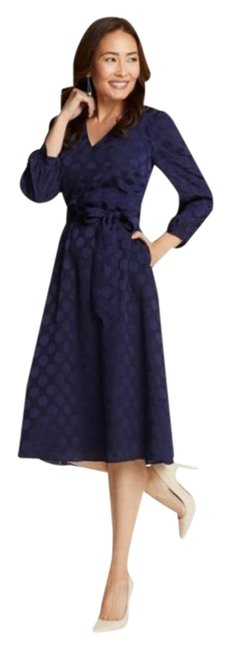 Item - Blue Fit and In Polka Dot Jacquard Mid-length Work/Office Dress Size 6 (S)
