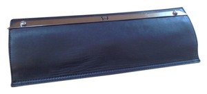 Halston Black Lather Clutch