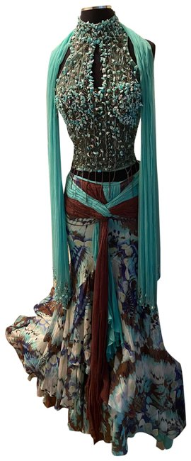 Alberto Makali Turquoise and Brown Silk Embellished Gown Long Formal Dress Size 4 (S) Alberto Makali Turquoise and Brown Silk Embellished Gown Long Formal Dress Size 4 (S) Image 1