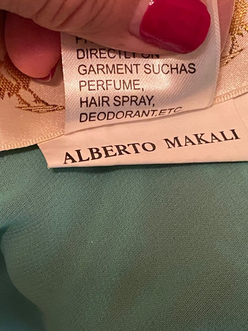 Alberto Makali Turquoise and Brown Silk Embellished Gown Long Formal Dress Size 4 (S) Alberto Makali Turquoise and Brown Silk Embellished Gown Long Formal Dress Size 4 (S) Image 12