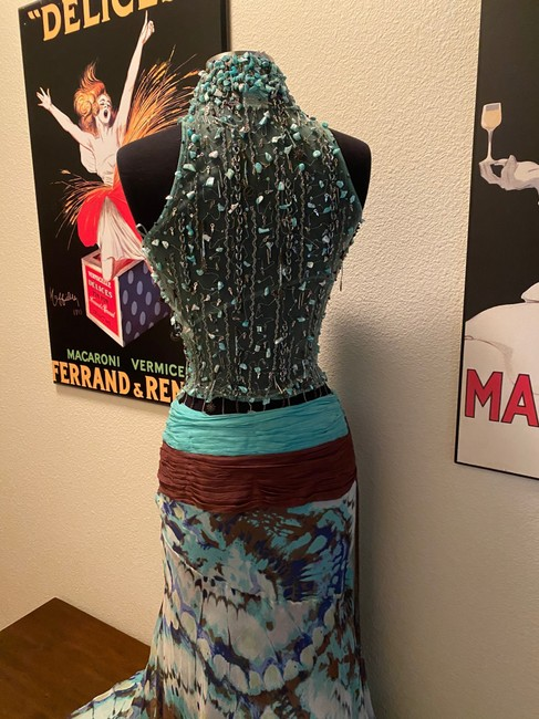 Alberto Makali Turquoise and Brown Silk Embellished Gown Long Formal Dress Size 4 (S) Alberto Makali Turquoise and Brown Silk Embellished Gown Long Formal Dress Size 4 (S) Image 6