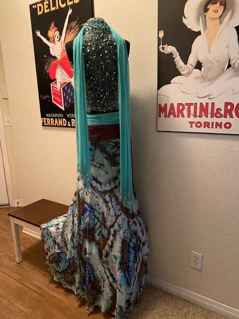 Alberto Makali Turquoise and Brown Silk Embellished Gown Long Formal Dress Size 4 (S) Alberto Makali Turquoise and Brown Silk Embellished Gown Long Formal Dress Size 4 (S) Image 7