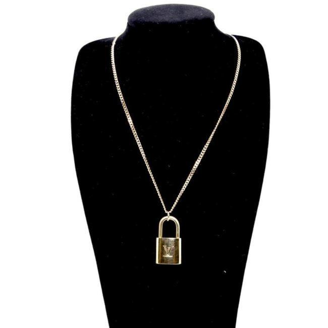 Item - Gold 14k Plaquette Made In Italy Chain Signature Padlock and Key 22in Necklace