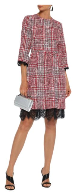 Item - Multicolor Lace-trimmed Checked Tweed Mid-length Formal Dress Size 6 (S)