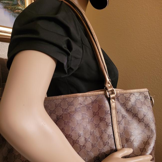 Gucci Gg Monogram Brown & Gold Coated Canvas Tote Gucci Gg Monogram Brown & Gold Coated Canvas Tote Image 3